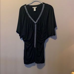 Black tunic top with studs silver